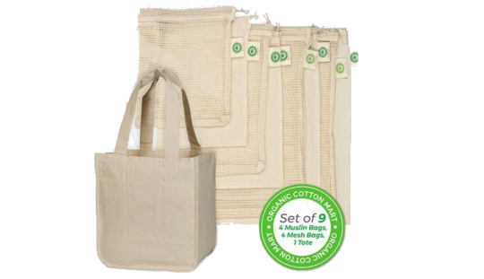 Organic Cotton Bags – Support your local produce stand.